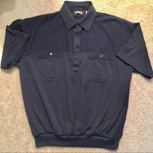 LD Sport Retro Polo Banded Waist Dark Navy Shirt L